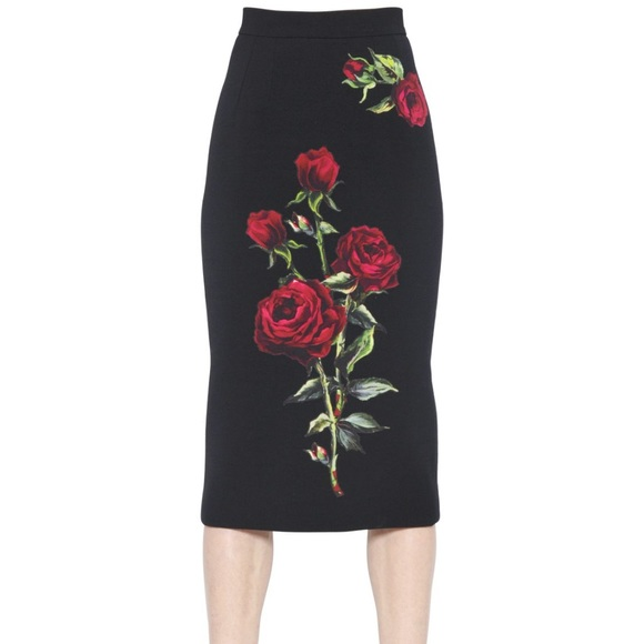 reliable reputation Super discount good service New Dolce & Gabbana Cady Rose Print Skirt Boutique